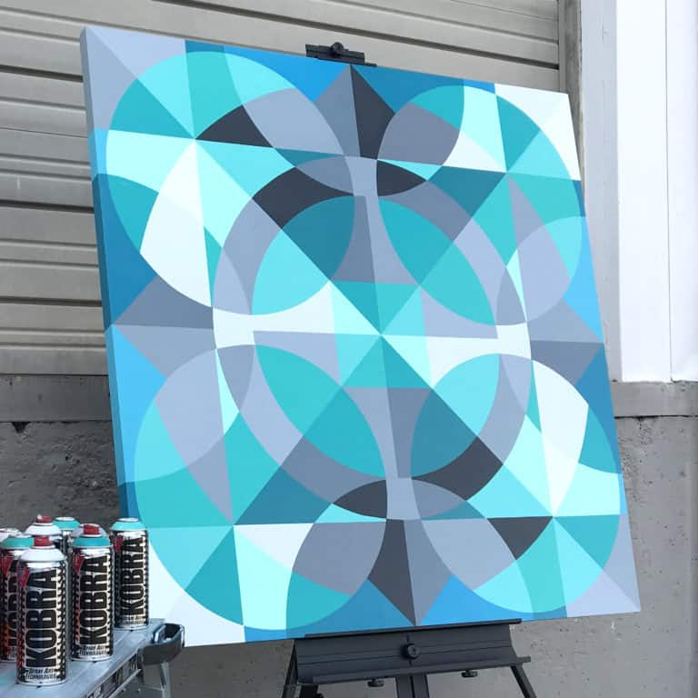 Artist Jason T. Graves creates new geometric art painting for solo art show.