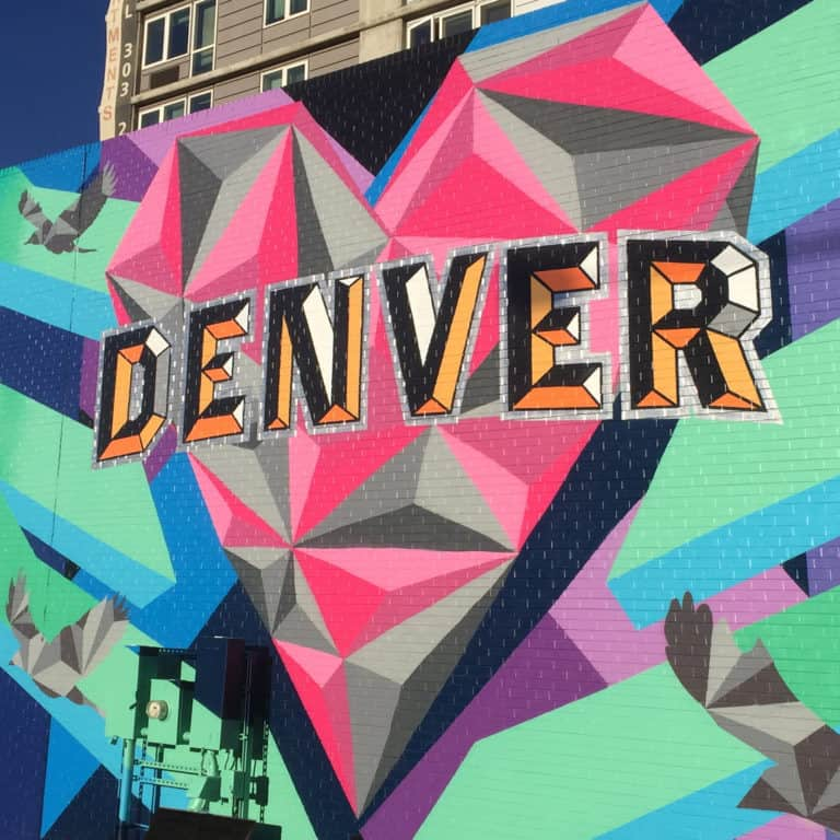 Vist Denver, Love This City Mural in the Rino Art District designed by Jason T. Graves