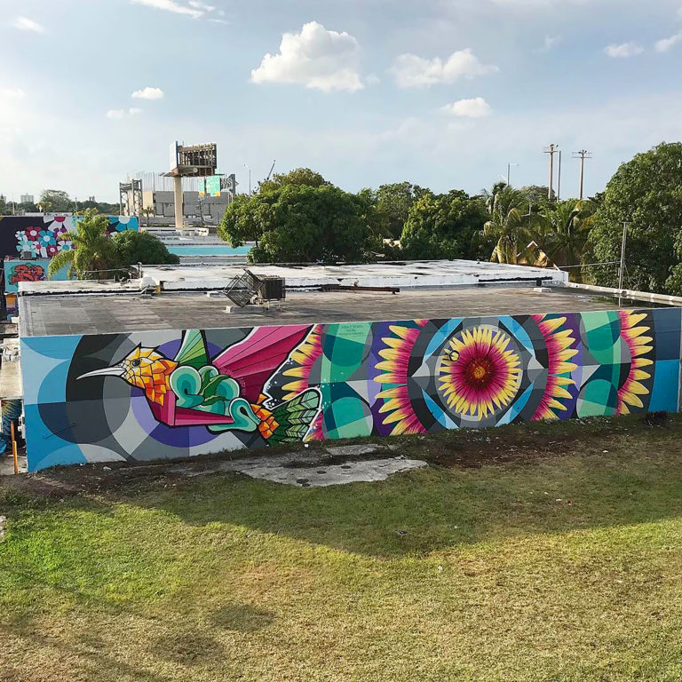 """BIRDS OF A FEATHER"""" mural painted by Jason T. Graves, Remington Robinson and Cavan Koebel for the 2018 Art Basel, Miami art week in Wynwood, Miami, Florida."""