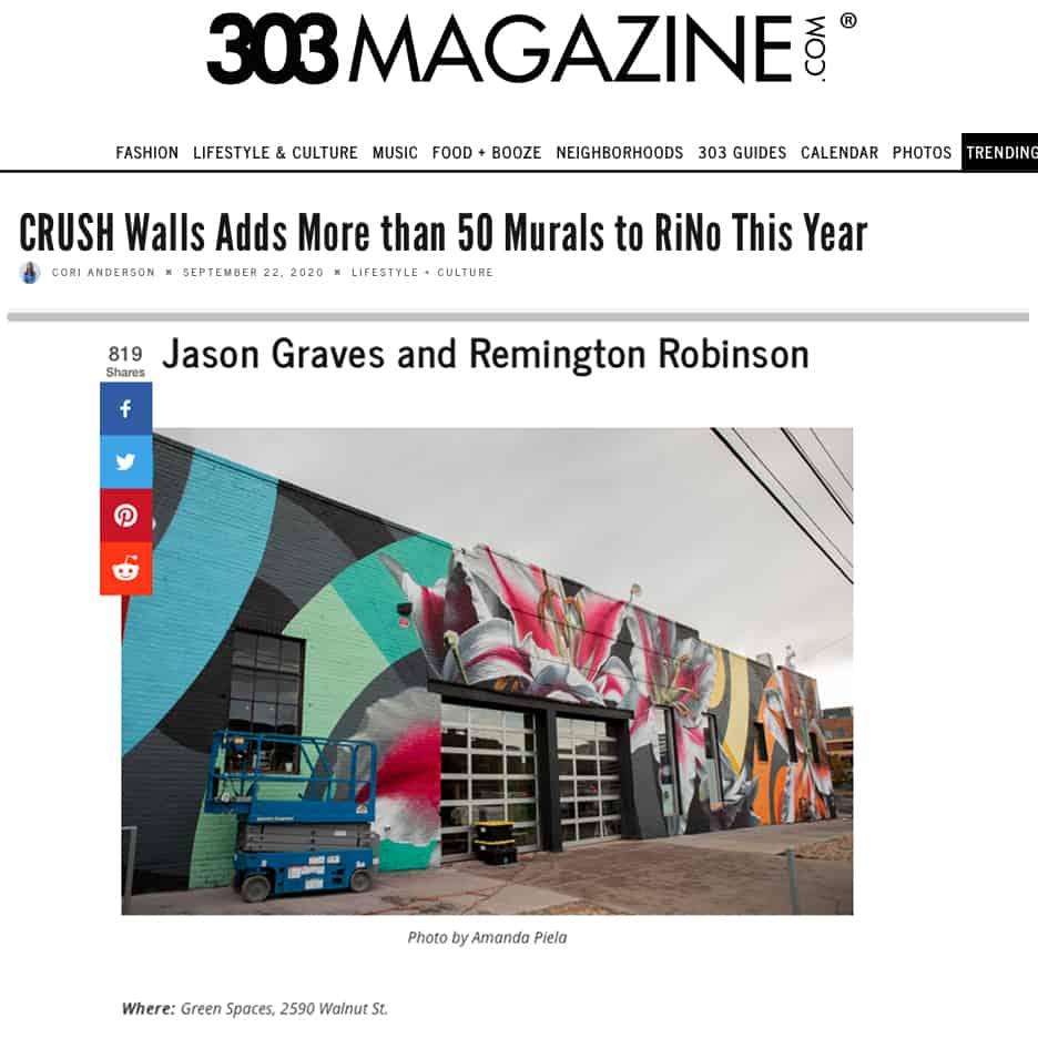 303 Magazine, CRUSH Walls Adds More than 50 Murals to RiNo This Year