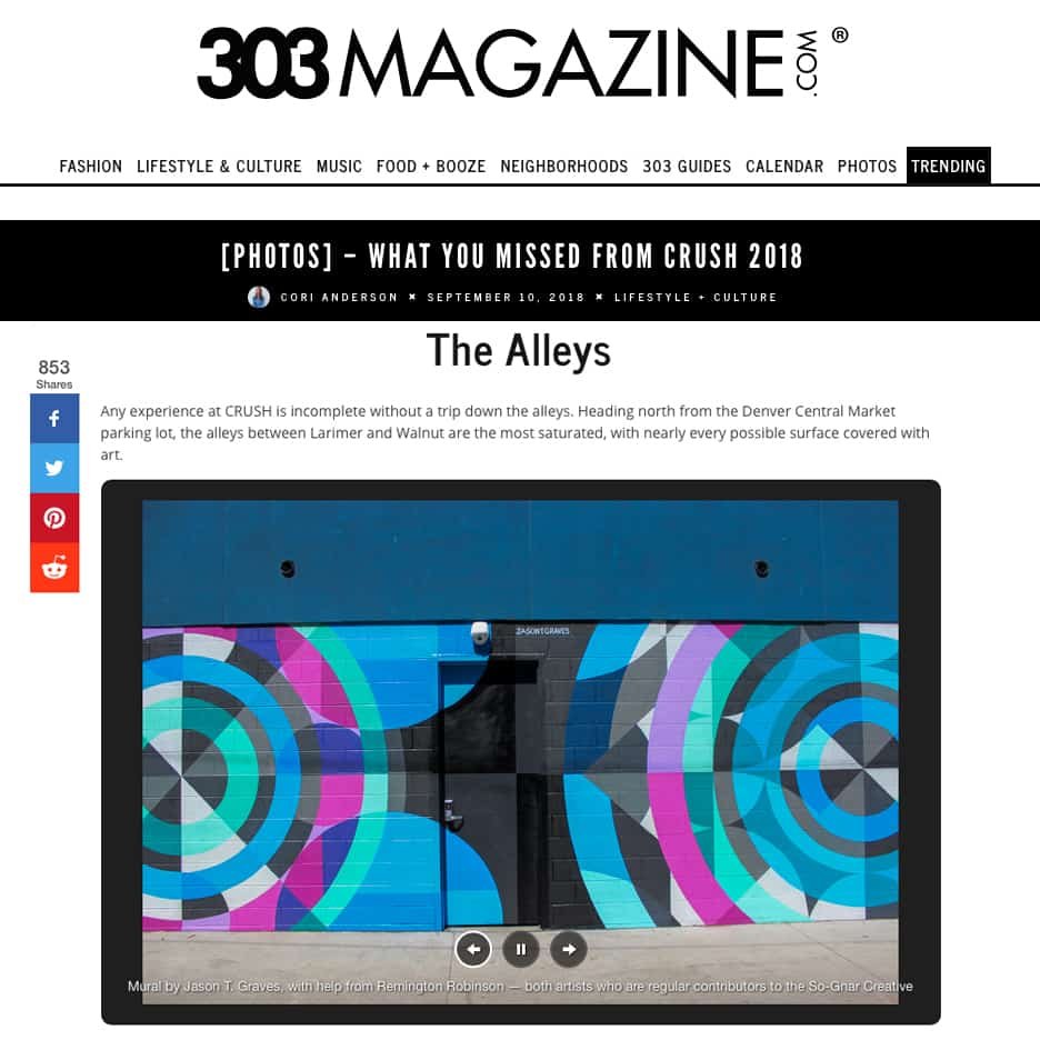 303 Magazine featuring street art by Jason T. Graves