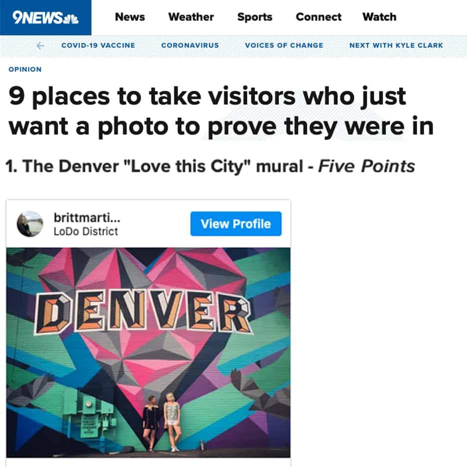 9 News Denver most instagrammed locations