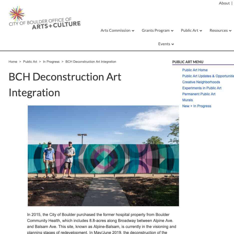 Boulder Arts and Culture, public art murals