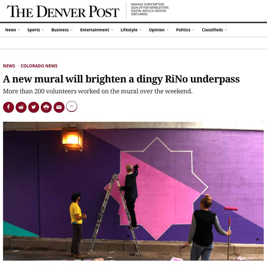RiNo Art District and Blue Moon Brewery sponsor mural project, 38th Street underpass Denver