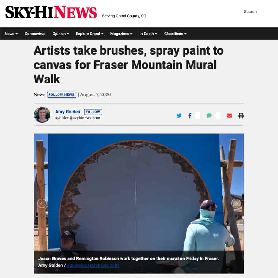 Sky-Hi News, Artists take brushes, spray paint to canvas for Fraser Mountain Mural Walk