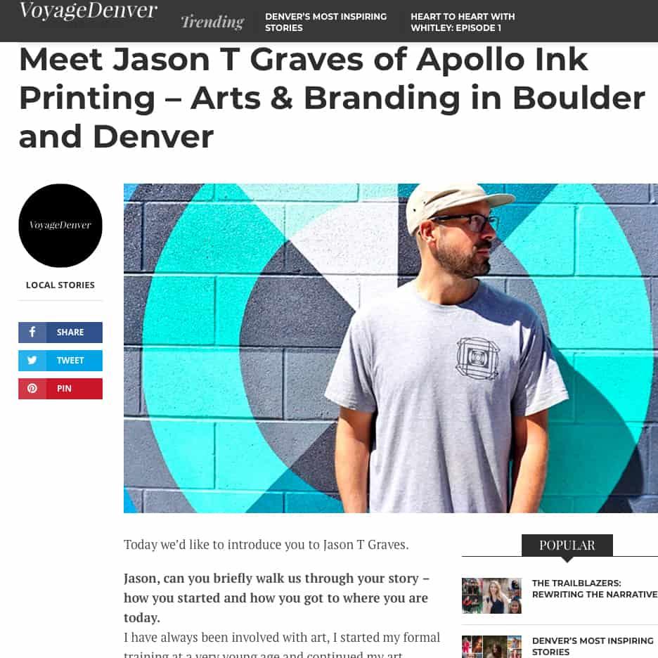 Voyage Denver, Meet Jason T Graves of Apollo Ink Printing – Arts & Branding in Boulder and Denve