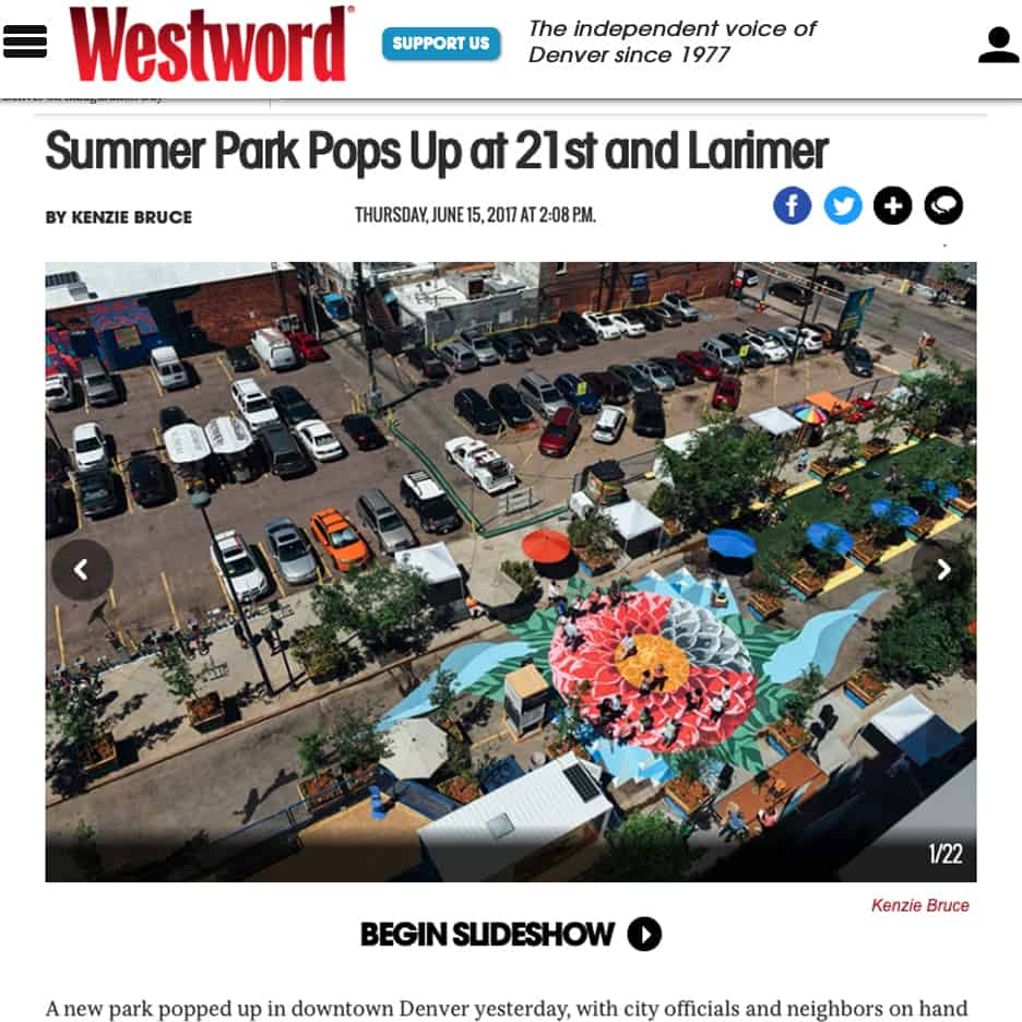 Summer Park Pops Up at 21st and Larimer